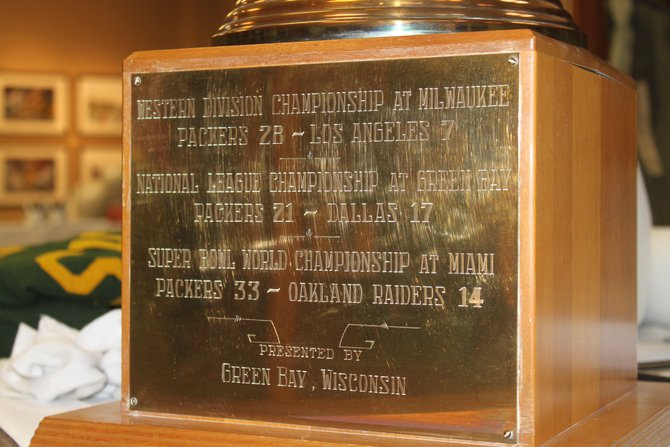 Trophy presented to the team by the City of Green Bay for an extraordinary year that included NFL championship (Ice Bowl) and Super Bowl II victories.