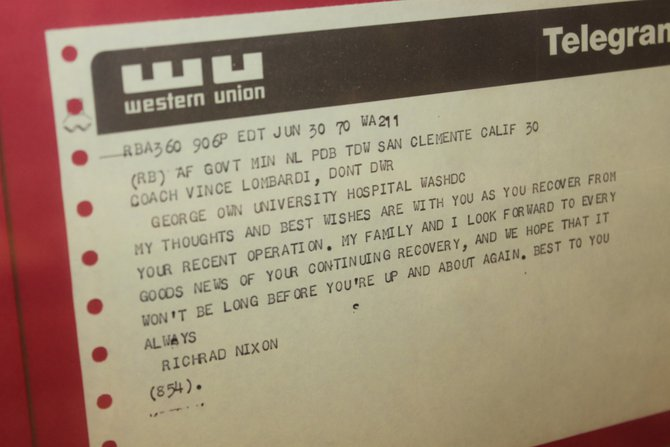Telegram to Vince Lombardi.  Intersting to note the typo in the President's name.