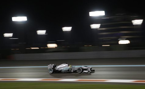 Mercedes Formula One driver Nico Rosberg of Germany drives during the second practice session of the Abu Dhabi F1 Grand Prix at the Yas Mari