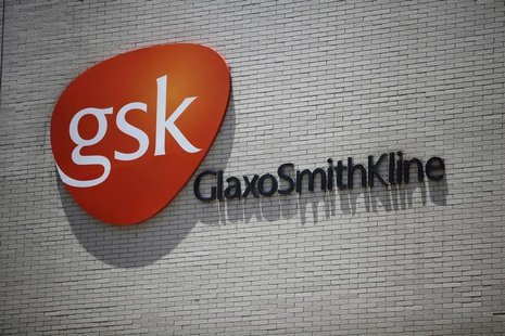 The logo of GlaxoSmithKline (GSK) is seen on its office building in Shanghai July 12, 2013. REUTERS/Aly Song
