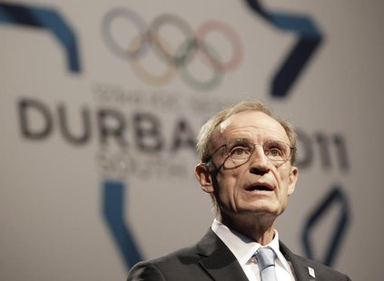 Former Olympian Jean-Claude Killy speaks during the Annecy bid city presentation to the 123rd International Olympic Committee (IOC) session