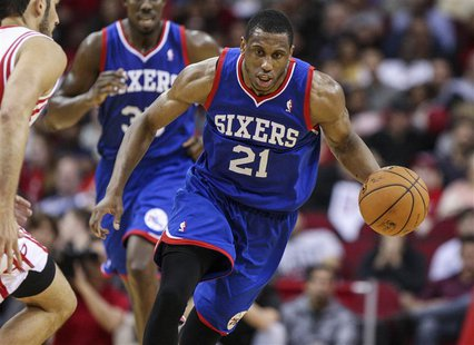 Mar 27, 2014; Houston, TX, USA; Philadelphia 76ers forward Thaddeus Young (21) drives the ball during the fourth quarter against the Houston