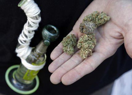 An attendee holds out several marijuana buds at the High Times U.S. Cannabis Cup in Seattle, Washington September 8, 2013. REUTERS/Jason Red