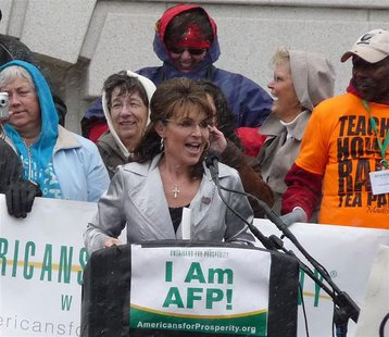 Sarah Palin at the Americans for Prosperity-run Wisconsin 2011 Tax Day Tea Party Rally. By WisPolitics.com (Flickr: Palin2 (Medium)) [CC-BY-SA-2.0 (http://creativecommons.org/licenses/by-sa/2.0)], via Wikimedia Commons
