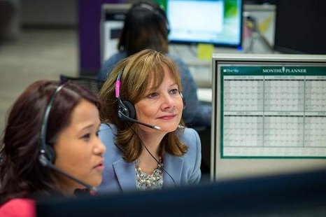 GM CEO Mary Barra visited GM's Customer Engagement Center, March 20, in Warren, where advisors are available to take calls regarding the Ignition Switch Recall. / General Motors