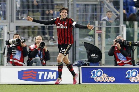 AC Milan's Ricardo Kaka celebrates after scoring against Lazio during their Italian Serie A soccer match at the Olympic stadium in Rome Marc
