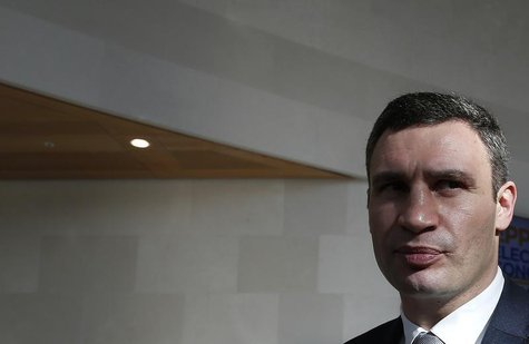 Ukraine's opposition politician Vitaly Klitschko leaves the European People's Party (EPP) Elections Congress in Dublin March 7, 2014. REUTER