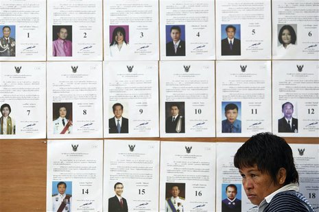 An official sits in front of a board with lists of candidate as she waits for voters at a polling station in Bangkok during a vote to elect
