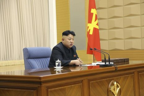 North Korea leader Kim Jong Un presides over a meeting of the Central Military Commission of the Workers' Party of Korea in this undated pho