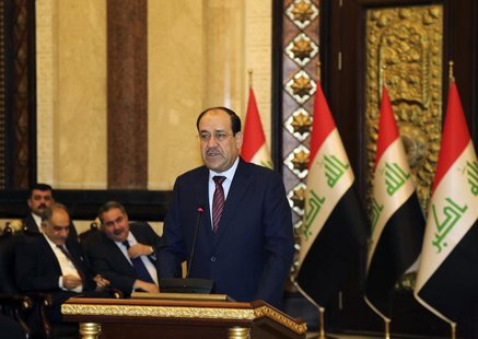 Iraqi Prime Minister Nouri al-Maliki speaks at the opening day of a counter-terrorism conference in Baghdad, March 12, 2014. REUTERS/Karim K