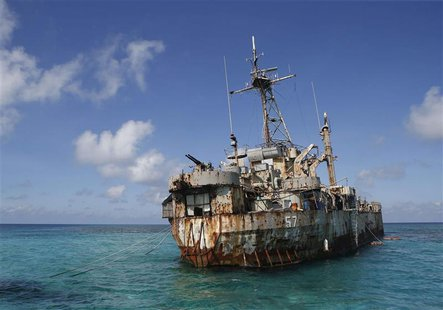 The BRP Sierra Madre, a marooned transport ship which Philippine Marines live on as a military outpost, is pictured in the disputed Second T