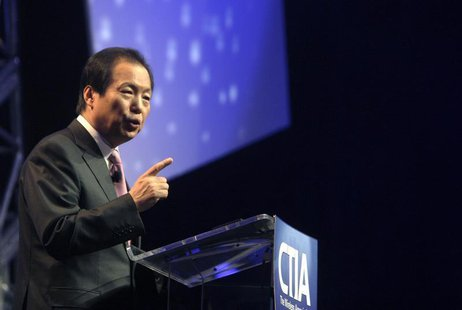 J.K. Shin, president of Mobile Communications Business for Samsung Electronics, gives a keynote address during the International CTIA Wirele