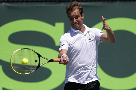 Mar 21, 2014; Miami, FL, USA; Richard Gasquet hits a forehand against Alejandro Gonzalez (not pictured) on day five of the Sony Open at Cran