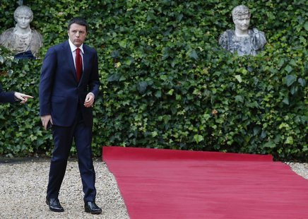 Italian Prime Minister Matteo Renzi arrives to attend a meeting with U.S. President Barack Obama at Villa Madama in Rome March 27, 2014. REU