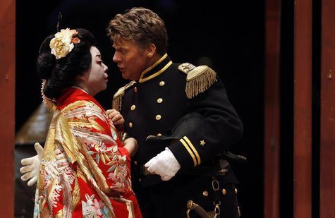 Mihoko Kinoshita (L), playing the lead role and Philip O'Brien as U.S. Navy Lieutenant B. F. Pinkerton perform during a dress rehearsal of t