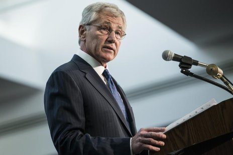 U.S. Secretary of Defense Chuck Hagel speaks during a retirement ceremony at the National Security Agency in Fort Meade, Maryland March 28,