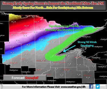 National Weather Service snow & ice total map