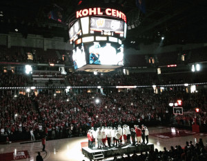Badger fans welcome the team home to the Kohl Center, 2014. (Photo: Wisconsin Radio Network)