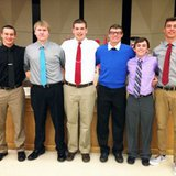 Coldwater boys basketball players (L-R: Grant Maurer, Ryan Mock, Logan Targgart, Luke Stempien, Scout Case, Ryan Hadley) following their team banquet on Sunday, March 30, 2014.