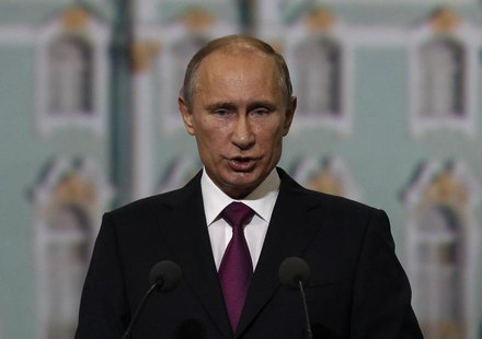 Russian President Vladimir Putin addresses participants of the St. Petersburg International Economic Forum in St. Petersburg, June 21, 2013.