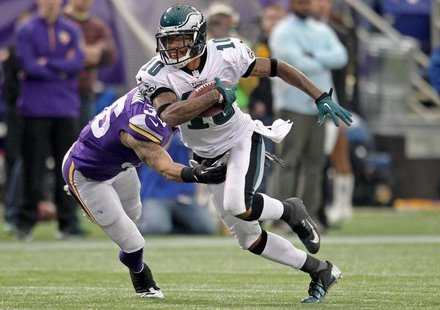 Dec 15, 2013; Minneapolis, MN, USA; Philadelphia Eagles wide receiver DeSean Jackson (10) carries the ball during the fourth quarter against