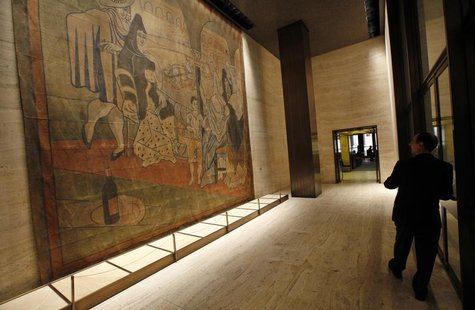 "A 19-by-20-foot theater curtain ""Le Tricorne"" painted by Pablo Picasso hangs at the Four Seasons restaurant in New York City, April 1, 2014."