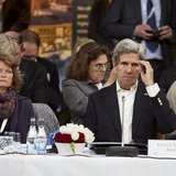 U.S. Secretary of State John Kerry sits next to U.S. Senator Lisa Murkowski (R-Alaska) during the Arctic Council Ministerial Session at City