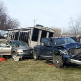 Damage from the collision of two pick-up trucks on Coldwater's west side April 2, 2014