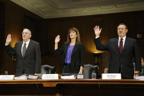 Caterpillar Inc former Senior International Tax Manager Rodney Perkins (L-R), Vice President for Finance Services Julie Lagacy and Chief Tax Officer Robin Beran are sworn in to testify at a U.S. More... Credit: REUTERS/Jonathan Ernst