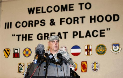 Lt. Gen. Mark Milley addresses the media during a news conference at the entrance to Fort Hood Army Post in Texas April 2, 2014. REUTERS/Eri