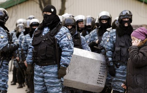 "The Ukranian riot police unit ""Berkut"" stand by during rallies by anti and pro-Yanukovich supporters in the eastern city of Donetsk, Februar"