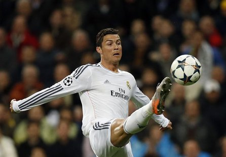 Real Madrid's Cristiano Ronaldo controls the ball during their Champions League quarter-final first leg soccer match against Borussia Dortmu