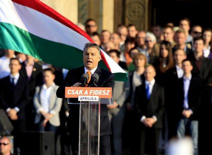 Hungarian Prime Minister Viktor Orban delivers a speech during an election rally of ruling Fidesz party in Budapest, March 29, 2014. REUTERS