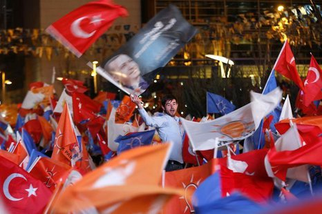 Supporters of Turkey's Prime Minister Tayyip Erdogan celebrate their election victory in front of the party headquarters in Ankara March 31,