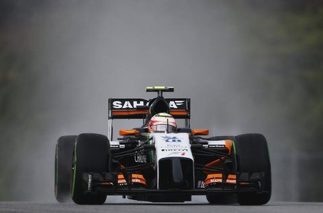 Force India Formula One driver Sergio Perez of Mexico drives during the qualifying session for the Malaysian F1 Grand Prix at Sepang Interna