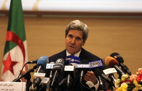 U.S. Secretary of State John Kerry gestures while addressing a news conference at the foreign ministry in Algiers April 3, 2014. REUTERS/Lou