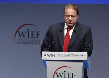 Pakistan's Prime Minister Nawaz Sharif addresses the World Islamic Economic Forum in London October 29, 2013. REUTERS/Luke MacGregor