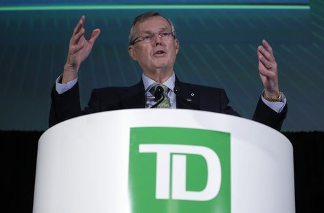 Toronto-Dominion Bank President and Chief Executive Officer Ed Clark speaks during the company's annual general meeting in Ottawa April 4, 2