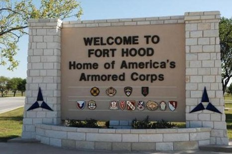 The main gate at the U.S. Army post at Fort Hood, Texas is pictured in this undated photograph, obtained on November 5, 2009. CREDIT: REUTERS/III CORPS PUBLIC AFFAIRS/U.S. ARMY/HANDOUT