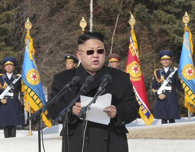 North Korean leader Kim Jong Un addresses commanding officers of the combined units of the Korean People's Army (KPA) in this undated photo