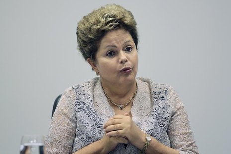 Brazil's President Dilma Rousseff speaks during the first meeting of the newly-formed CIASN, an interministerial committee for simplifying t