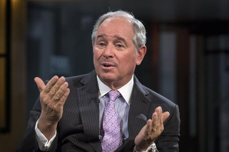 Stephen A. Schwarzman, Chairman and Chief Executive Officer of The Blackstone Group, speaks during an interview with Maria Bartiromo, on her