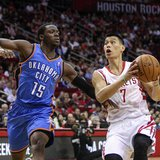Apr 4, 2014; Houston, TX, USA; Houston Rockets guard Jeremy Lin (7) drives to the basket during the first quarter as Oklahoma City Thunder g