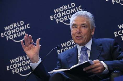 Chairman of Nestle Peter Brabeck-Letmathe gestures during the annual meeting of the World Economic Forum (WEF) in Davos January 25, 2013. RE