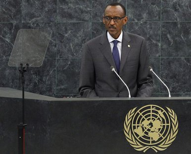 Rwanda's President Paul Kagame addresses the 68th United Nations General Assembly at UN headquarters in New York, September 25, 2013. REUTER
