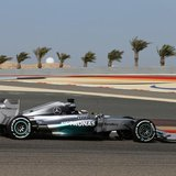Mercedes Formula One driver Lewis Hamilton of Britain drives during the third practice session of the Bahrain F1 Grand Prix at the Bahrain I