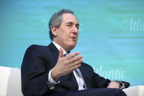 U.S. Trade Representative Michael Froman takes part in an onstage interview with Edward Luce of the Financial Times during The Atlantic Econ
