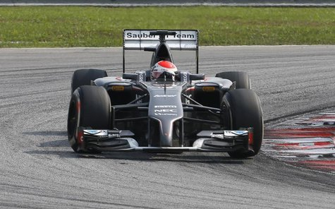 Sauber Formula One driver Adrian Sutil of Germany takes a corner during the Malaysian F1 Grand Prix at Sepang International Circuit outside