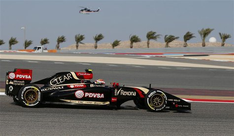 Lotus Formula One driver Pastor Maldonado of Venezuela drives during the third practice session of the Bahrain F1 Grand Prix at the Bahrain