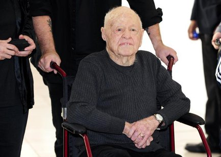 "Actor Mickey Rooney arrives at the opening night of the UCLA Film and Television Archive film series ""Champion: The Stanley Kramer Centennia"